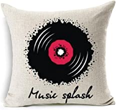 Andreannie Simple Records Black Music Splash Cotton Linen Throw Pillow Case Personalized Cushion Cover New Home Office Dec...
