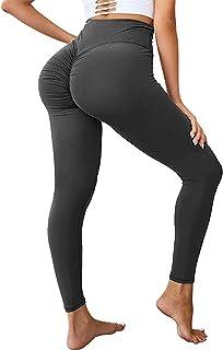 SEASUM Womens Scrunch Butt Yoga Legging - High Waist Workout Gym Ruched Pants Booty High Rise Push Up Tights XL