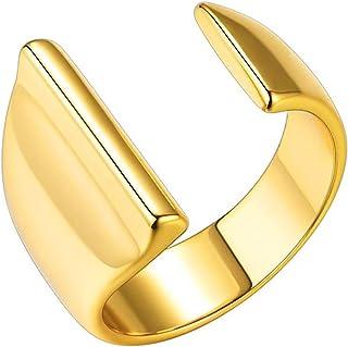 Gold Initial Ring for Men Chunky Rings Gold Letter Ring Adjustable Open Ring for Women