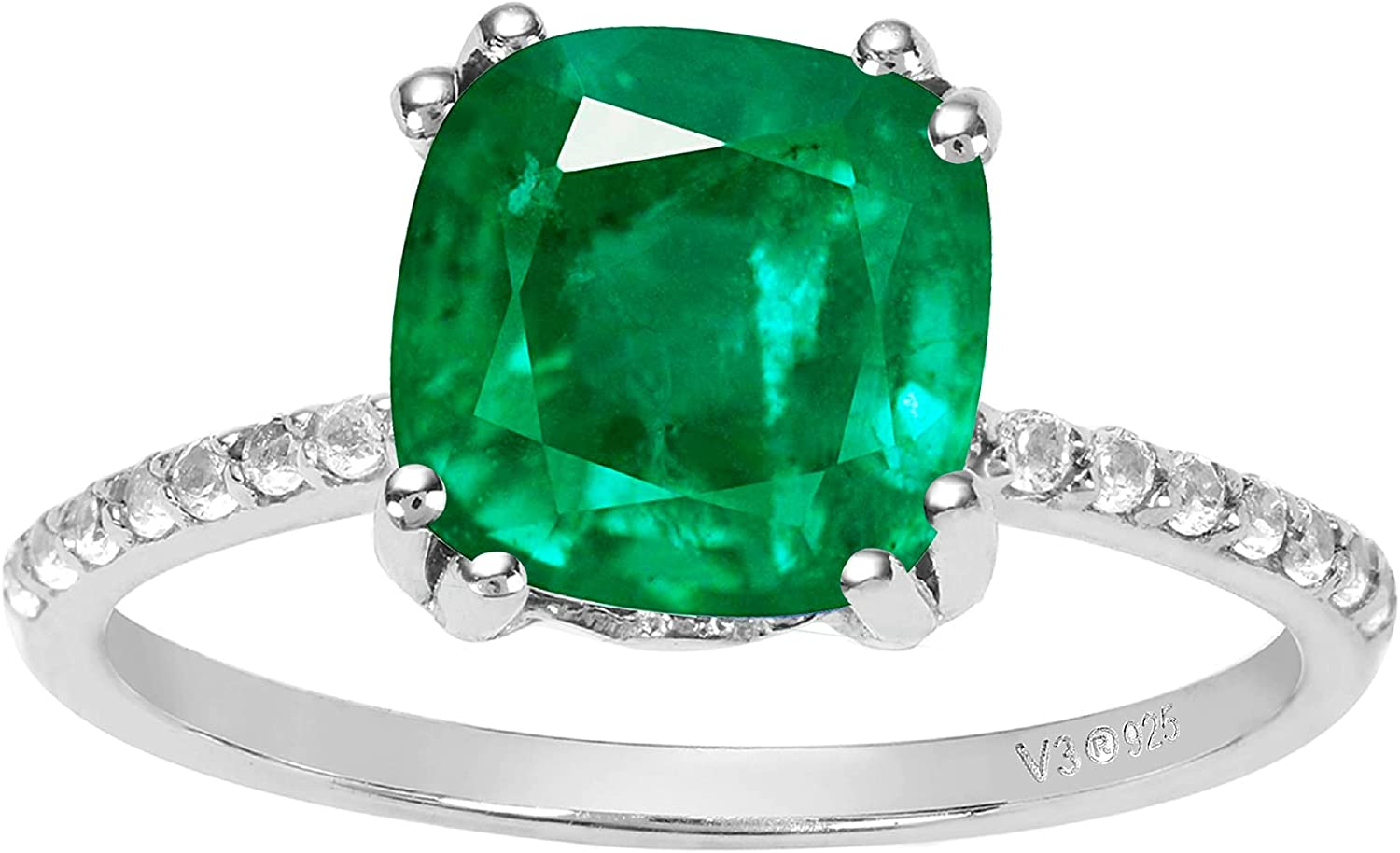 Sterling Silver Cheap SALE Start with Emerald and Ranking TOP4 Zircon White Annivesary Ring
