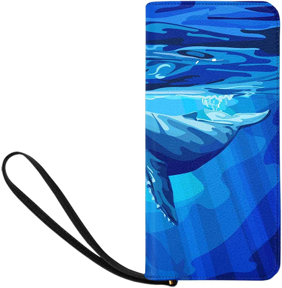 INTERESTPRINT Blue Whale Diving Wristlet Clutch Large Travel Purse Wristlet