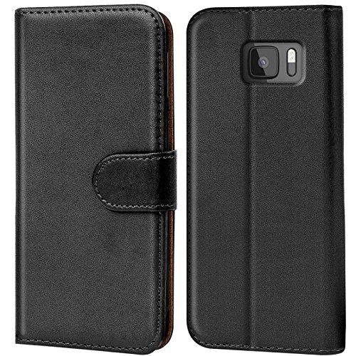 Verco HTC U Ultra Hülle, Handyhülle für HTC U Ultra Tasche PU Leder Flip Hülle Brieftasche - Schwarz