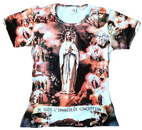 TICILA - Camiseta para mujer, diseño de mujer con texto 'Ave Maria Heilige Madonna Mary le Suis l'immaculée Conception' Blanco S