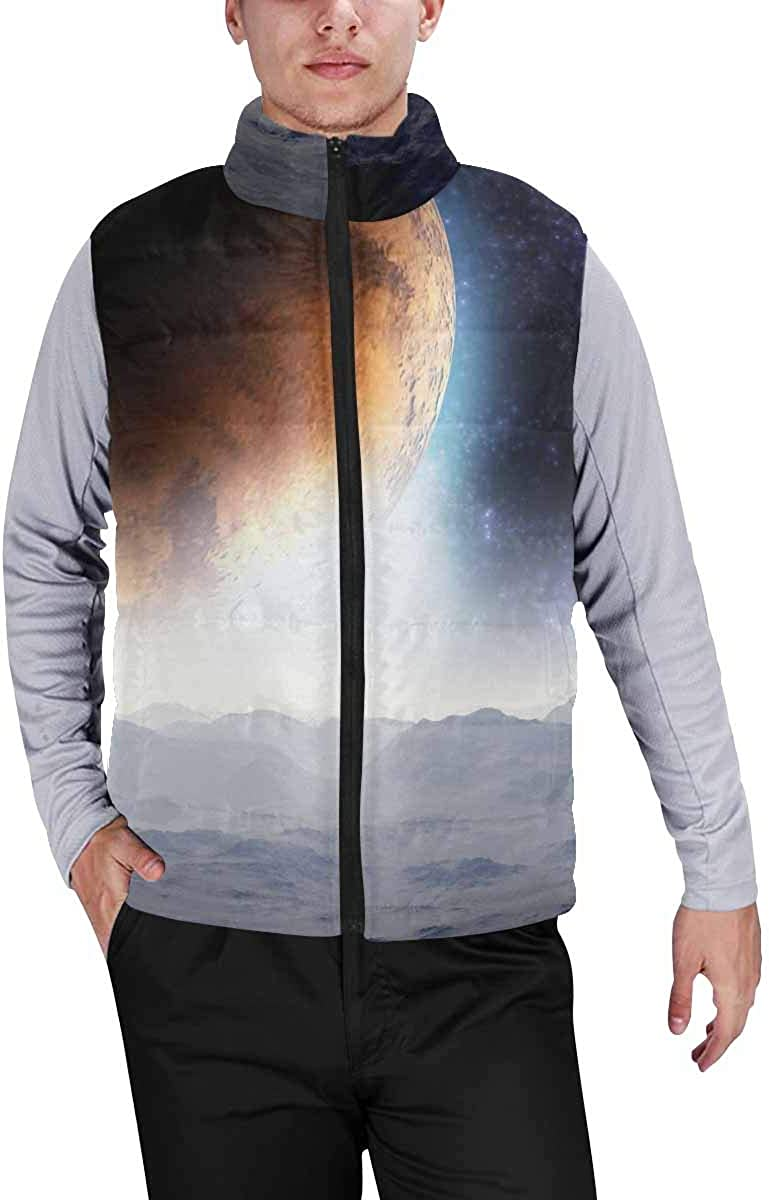 InterestPrint Warm Outdoor Sleeveless Stand Collar Vest for Men I Love You to the Moon