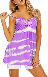 Simayixx Womens Summer Sleeveless Tank Tops Casual V Neck Flowy Tie Dye Print Tunic Shirts Blouse Beach Dressy