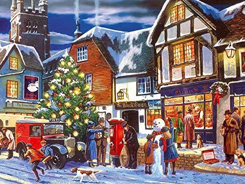 5D diamante bordado paisaje de invierno taladro redondo completo pintura de diamante imagen de Navidad de diamantes de imitación coche regalo de vacaciones A7 45x60cm