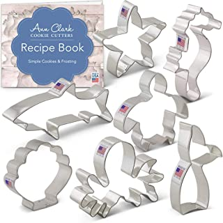 Ann Clark Cookie Cutters 7-Piece Under The Sea Cookie Cutter Set with Recipe Booklet, Seashell, Octopus, Seahorse, Shark, Starfish, Turtle and Mermaid Tail