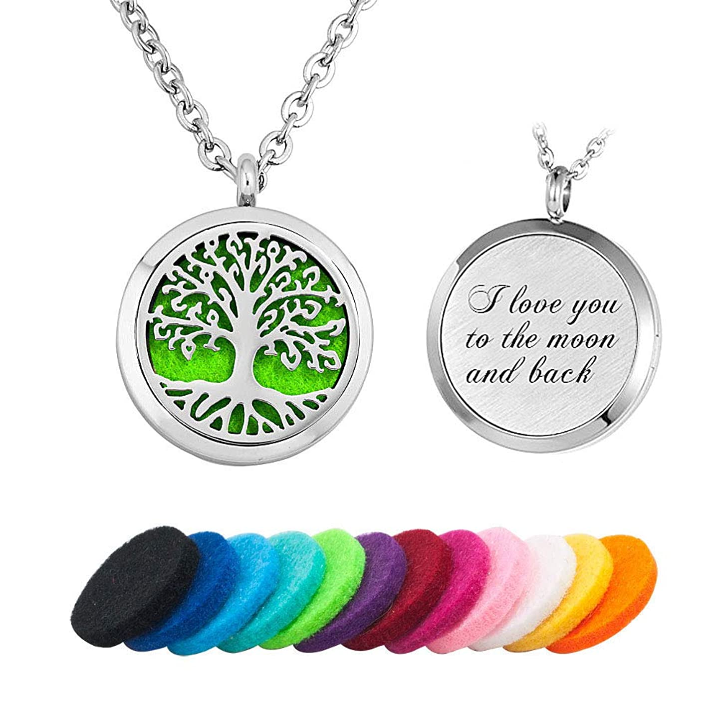 LoEnMe Jewelry Aromatherapy Essential Oil Diffuser Necklace Love Family Tree of Life Locket Pendant Gift