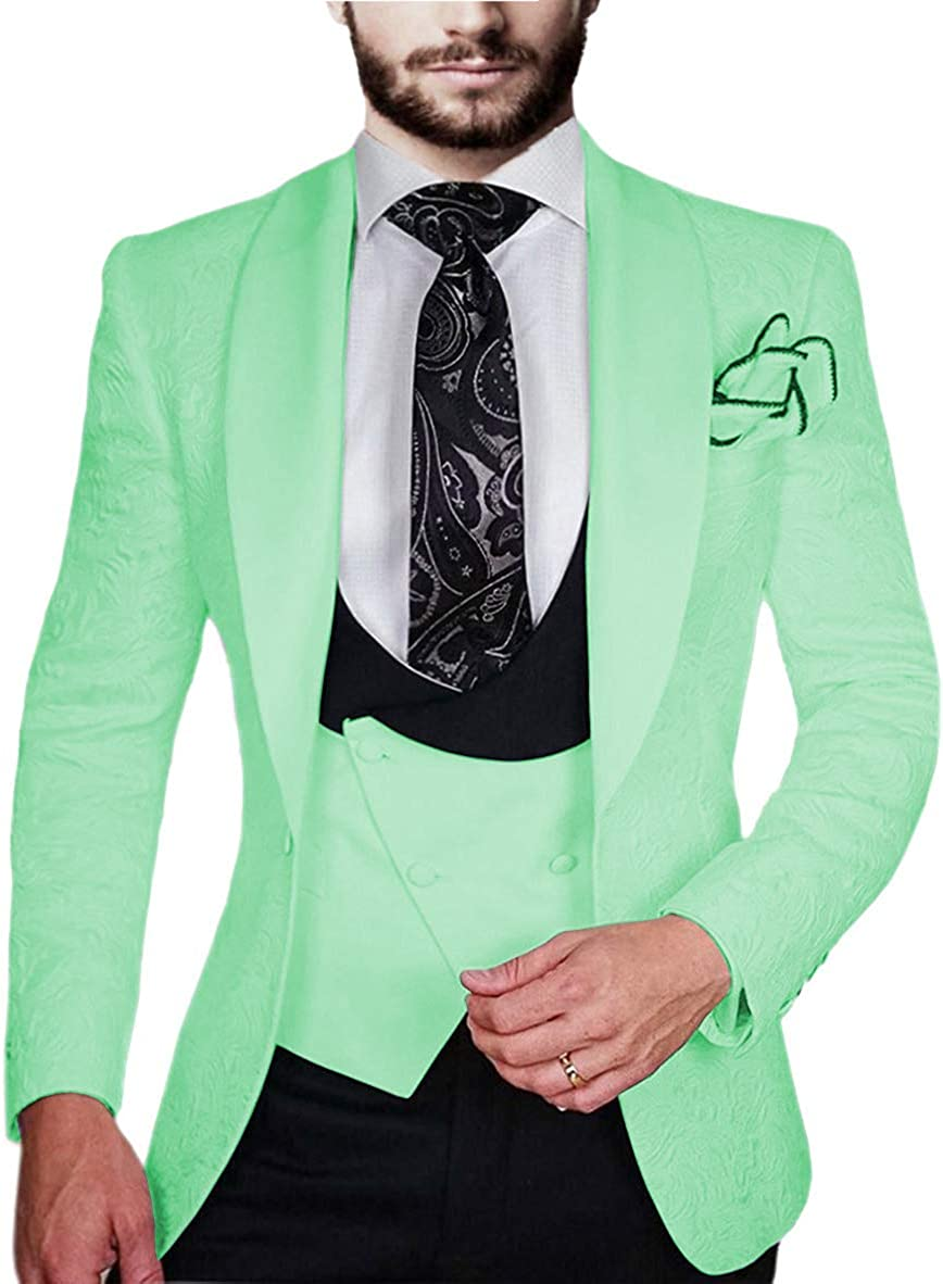Men's Suits Slim Fit 3 Piece Classic Double Breasted Prom Tuxedos Dinner Jacket Wedding Grooms (Blazer+Vest+Pants)