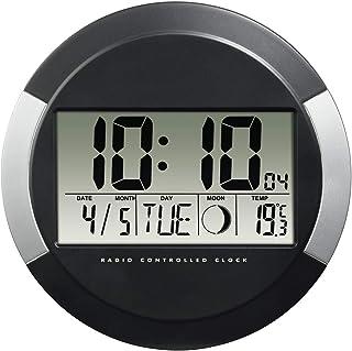 """Hama Horloge murale """"PP-245"""" (radio-pilotée DCF, pendule sans tic tac, numérique, à led, sans fil, avec des piles, format ..."""