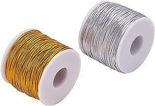 PH PandaHall 2mm 54 Yards Metallic Elastic Cords Gold Silver Stretch Ribbon Cord Metallic Tinsel Cord Rope for Craft Makin...