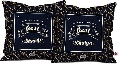 Indigifts Bhaiya Bhabhi Set World's Best Bhaiya and Bhabhi 2 Printed Satin Cushion Cover 12x12-inch with Filler; Rakhi; Blue