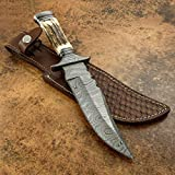 KE-01199-HK Custom and Handmade Damascus Steel Hunting Knife with Stag Horn Handle with Leather Sheath