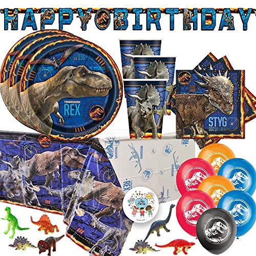 Jurassic World Dinosaurier Fallen Kingdom Geburtstagsparty-Set für 16 Personen, Teller, Servietten, Tischdecke, Becher, Geburtstagsbanner, Luftballons, Dinosaurier-Figuren und exklusiver Pin