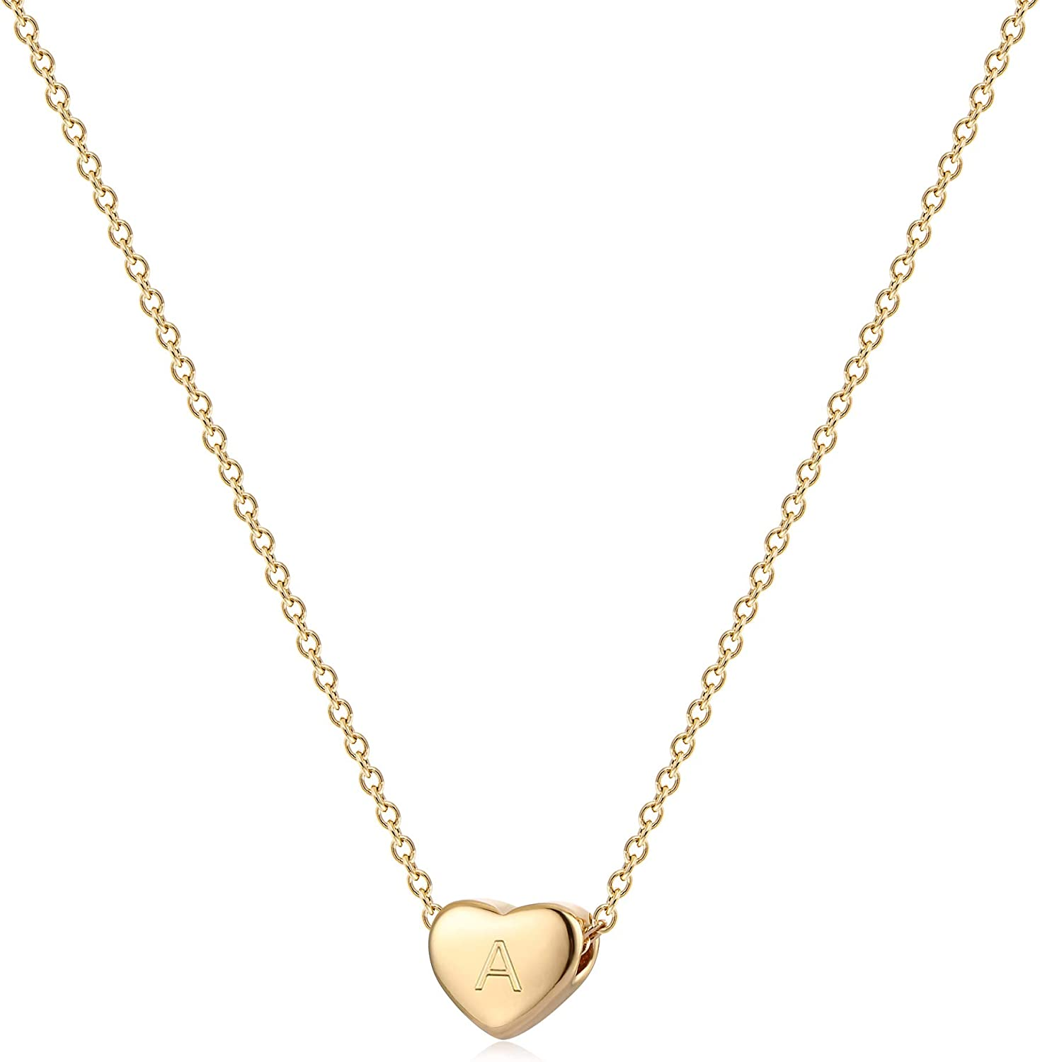 Valloey Rover Tiny Gold Initial Heart Necklace, 14k Gold Plated Delicate Cute Dainty Charm Initial Alphabet Letter Love Heart Choker Necklaces for Women Personalized