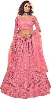 وشاح زفاف هندي وردي لغغرا ثقيل وحبال عمل حجر ليهينغا شولي دوباتا 6024