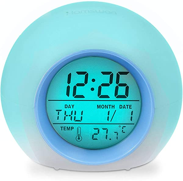 Alarm Clock HAMSWAN JL C018 7 Colors Changing Alarm Clock Battery Operated 12 24 Hours One Tap Control Sleep Friendly With Indoor Temperature Display For Kids Home Office Light Blue