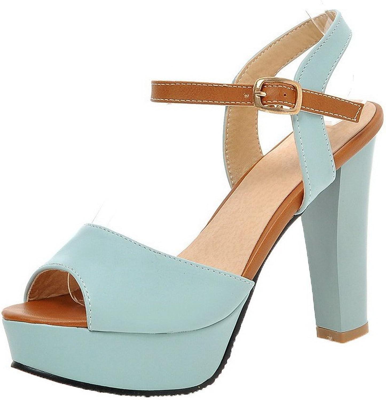 WeiPoot Women's Assorted color PU High-Heels Buckle Peep-Toe Sandals, EGHLH006147