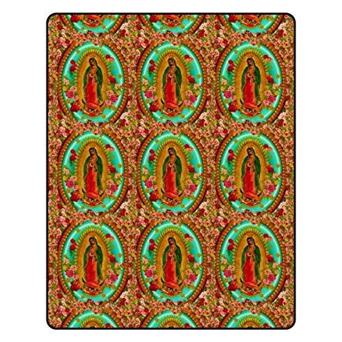 Manta de franela para cama de Nuestra Señora Guadalupe mexicana Santa Virgen María, suave, cálida, mullida, para sofá, silla, sala de estar, oficina, casa de campo, viajes, 152 x 201 cm