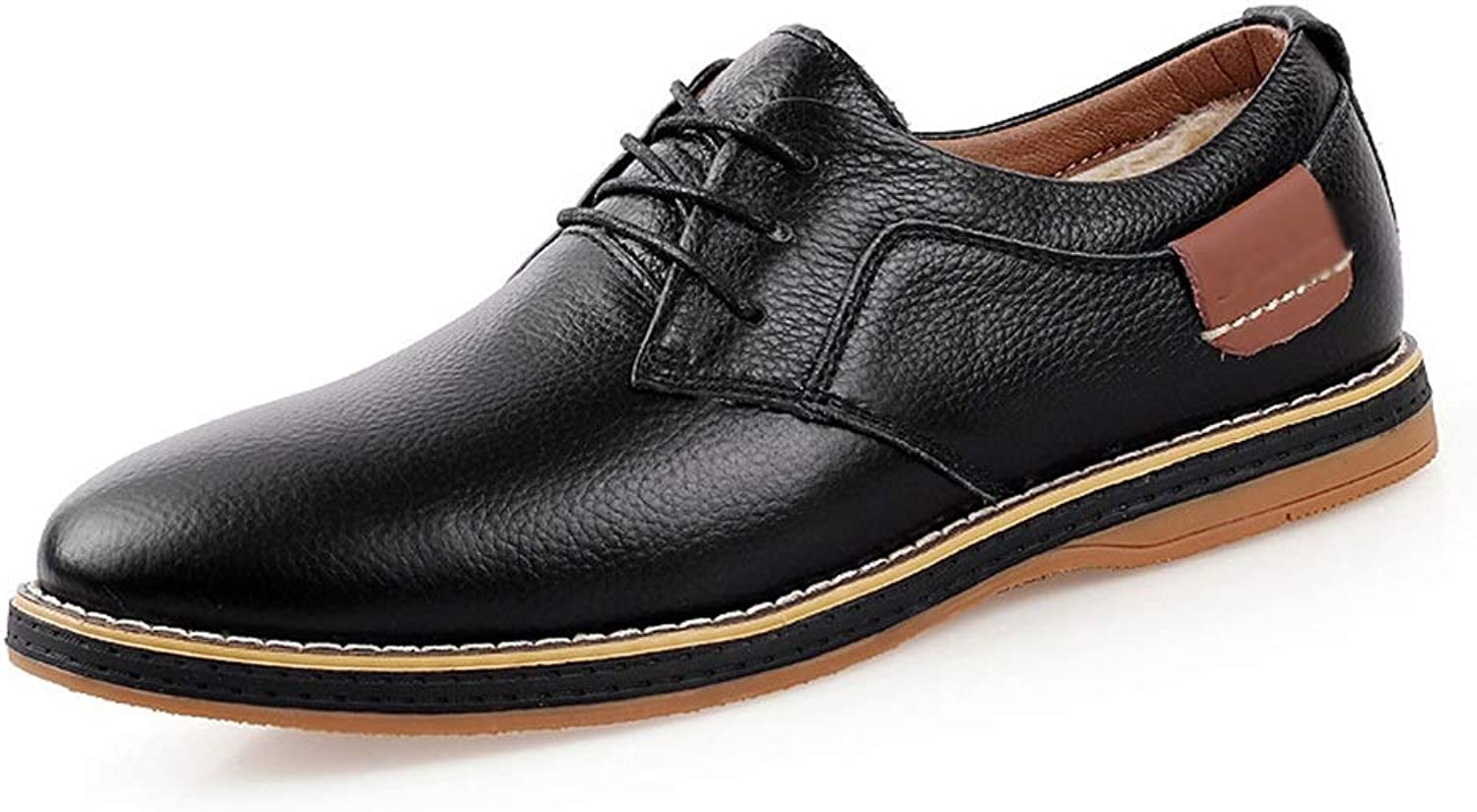 Men's Toe Layer Leather England shoes Business shoes Leather Casual shoes (color   Black (Single shoes), Size   44)