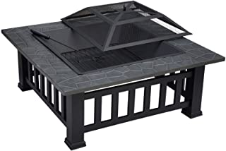 Fire Pit Table with BBQ Grill Shelf, Square Firepit with Waterproof Cover, Metal Brazier for Garden Patio Outdoor, Barbecu...