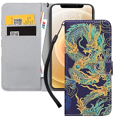 Yoedge Funda para Apple iPhone SE 2020 4,7, Azul Carcasa de Cuero PU con Soporte Plegable con Soporte/Ranura de Tarjeta Cubierta Protectora Tipo Libro Cover para iPhone 7/8 / SE 2020, Dragón