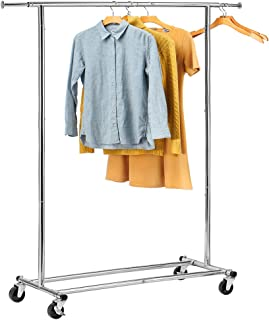 HOUSE DAY Portable Clothing Garment Rack Heavy Duty Rolling Clothes Rack Collapsible Clothing Rack-Commercial Grade