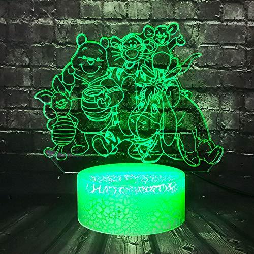 KINGBENG Enfant Bébé Nuit Lumière Grande Famille de Bande Dessinée Mignon Ours Winnie Ourson Couleur Chambre Décor Table Rgb Lampe Vacances De Noël Cadeau Libérez Le Bateau 16 couleurs Veilleuse 3D Il