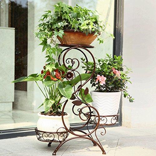 DGF Support de fleur d'art de fer, présentoir de plante au sol d'intérieur de trois étages (45Cm long * 27 cm de large * 80cm de haut) blanc couleur de café noir ( Couleur : Café couleur , taille : L50*W 24*H67cm )