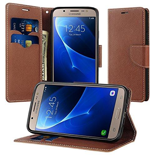 Supad Coque Samsung Galaxy J5 2016, Magnétique Ultra Flip Premium PU Cuir Doux TPU Portefeuille Wallet Case Cover Housse Etui avec Fonction Stand pour Samsung Galaxy J5 2016 (Marron)