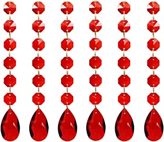 Poproo Teardrop Octagon Crystal Glass Beads Pendant for Chandelier Lamp Curtain Decor, 6-Pack (Red)
