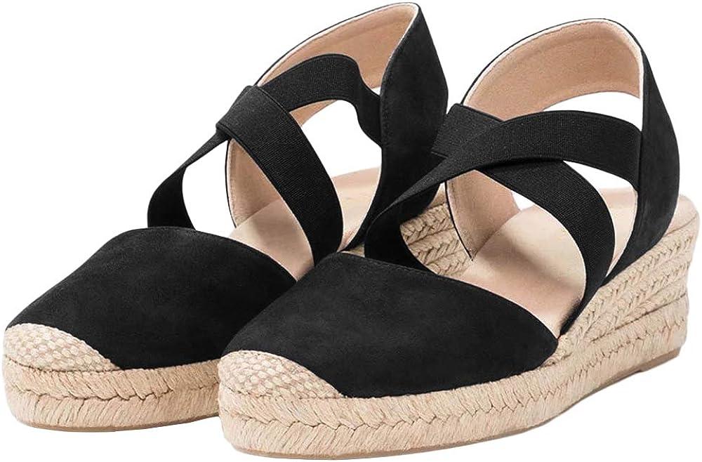 Womens Fresno Mall Espadrille Platform Elastic Strappy Ranking TOP14 Closed Toe Cris Wedge