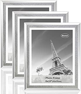 Meetart Sparkle Crystal Silver Glitter Mirror Glass Photo Frame For Photo Size 8x10 Pack of 3 Piece