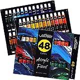 Set de Pinturas Acrílicas VACNITE Pintura Acrílica para el Arte, Tubo de 12ml, 48 Colores Vivos, Pintura Acrílica para Lienzos, Roca, Papel etc. Ideal para Artistas, Principiantes y Niños