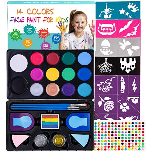 Maydear Face Painting Kit for Kids with 14 Colors Safe and Non-Toxic Large Water Based Face Paint, 52- Stencils,160 Gems, 2 Hair Chalks, 2 Glitter