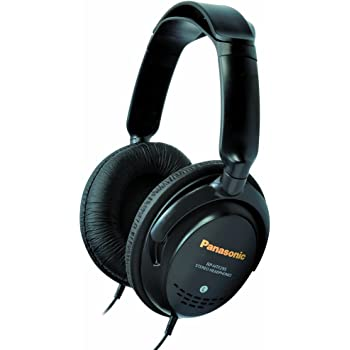 Panasonic Quick-Fit Over-the-Ear Stereo Monitor Headphones RP-HTF295-K (Black) Lightweight, Comfortable, Powerful Bass