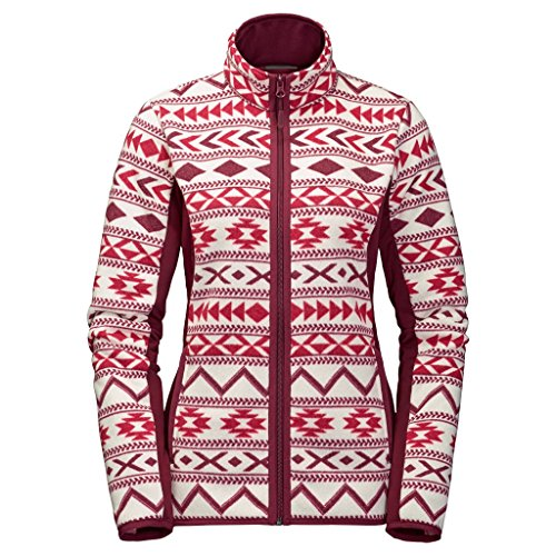 Jack Wolfskin Damen Hazelton Flex Jacket Fleece-Sweatshirt, Scarlet All Over, L