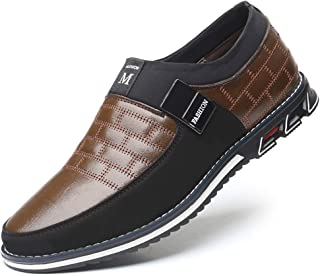 COSIDRAM Men Casual Shoes Summer Sneakers Loafers Breathable Comfort Walking Shoes Fashion Driving Shoes Luxury Black Brown Leather Shoes for Male Business Work Office Dress Outdoor Brown Size 10.5