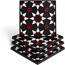 Mosaic Homeware Coasters - Set of 4 coasters, Silicone, Protect Against Water Marks or Damage - Fit All Cups, 3.5 Inch Size Fits All Sizes, Silicone coasters, colored coasters (Polaris Black)