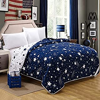 Juwenin Home,100% Cotton Knitted Throw Blanket, Sofa/Bedding/Couch Cover with Pom Poms (Blue, Queen(88x88))