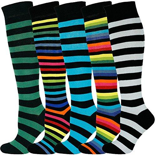 Mysocks Unisex Kniestrümpfe lange Socken Streifen Multi 504