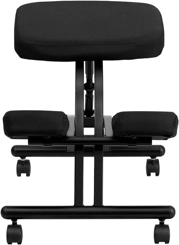 ZYFWBDZ Chaise de Genou Ergonomique, Mousse à mémoire de Forme et Tabouret à Genoux en métal Noir, Posture Assise correcte pour soulager la Fatigue,Bleu Black