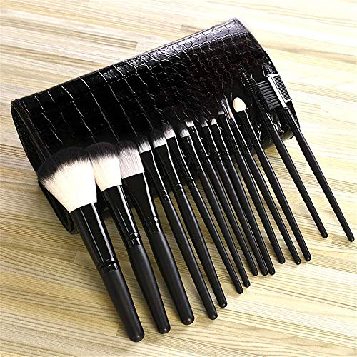 Pinceau de maquillage professionnel réglé 15 pièce Set outil de maquillage débutant Fibre Ombre à Paupières Brosse Sourcils, Noir