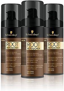 Schwarzkopf Root Retoucher - Coloración del Cabello Castaño (pack de 3)