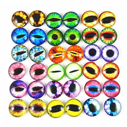 JulieWang 8mm 100pcs Mixed Style Dragon Eyes Round time gem Cover Glass Cabochon Dome Jewelry Finding Cameo Pendant Settings