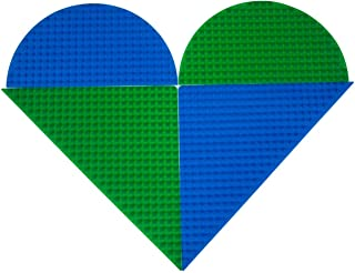 """Strictly Briks Classic Blue & Green Half Circle Roll Up Building Mat 15""""x15"""" Double Sided Silicone Travel Mat   100% Compa..."""