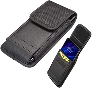 DFV mobile - Belt Case Cover Vertical with Card Holder Leather & Nylon for Koolnee K1 - Black