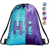 Sequin Drawstring Backpack Gym Dance Bags Mermaid Magic Reversible Glitter Bag Unicorn Gift for Girls Daughter Boy Flip Sequin Bag Birthday Gift for Kids Women