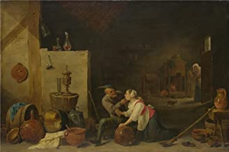 Oil Painting 'David Teniers The Younger - An Old Peasant Caresses A Kitchen Maid In A Stable,about 1650' 18 x 27 inch / 46 x 69 cm , on High Definition HD canvas prints, Dining Room, Game Room decor