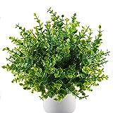 MIHOUNION 4 pcs Plantas Verdes Artificiales eucalipto Hojas arbustos de plástico y arreglo de Ramo simulación de Plantas...